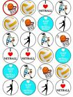 Netball Love Players Sport Ball edible cupcake Toppers Wafer or Icing x 24