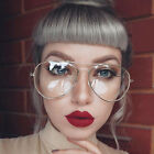 Gold Silver Clear Lens Aviator Glasses Classic Pilot Tear Drop Frame Men Women