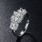 1 Ct Princess-cut 3-Stones Cubic Zirconia Promise Ring Size 6 7 8 9