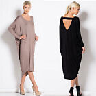 2017 womens fashion loose Batwing Sleeve cotton long backless V-neck dress XS-XL