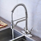"Deck Mounted Brushed Nickel Kitchen Faucet Swivel Spout W/ 10"" Plate Sink Mixer"