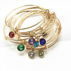 12 Style Fashion Gold Tone Expandable Wire Charm With Pendant Bracelet Bangle