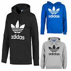 Adidas Men's Trefoil Hoodie Hooded Pullover Sweatshirt Black Gray Blue S-XL