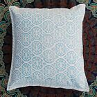 Indian Printed Cushion Covers Christmas Decor Sky Blue Square Pillow Case
