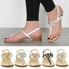 WOMENS LADIES LOW MID BLOCK HEEL T-BAR FLOWER GEM DIAMANTE SUMMER SANDALS SIZE