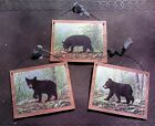 3 Baby Bear Pictures Bears Cubs Plaques Wall Hangings Home Deco Rustic Lodge Log