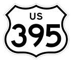 Внешний вид - US Route 395 Sticker Decal R1036 Highway Sign Road Sign