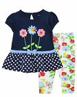 New Carter's Baby Girl Clothes 2-Piece Set Floral navy blue  12 18 24 M 3 4 T