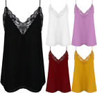 New Lace Trim Strappy V Neck Chiffon Sheer Cami Party Top Vest Blouse Camisole