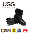 UGG Boots Kara- Ladies Fashion Zip Up Style,  Australian wool lining, Black