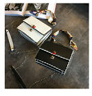 HighEnd Style Fend SMALL KAN I Square Button Wavy Edge Chain Corssbody Flap Bag
