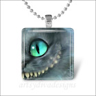 ALICE IN WONDERLAND CHESHIRE CAT GLASS PENDANT NECKLACE