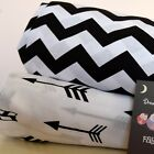2 x Cot Bed Fitted Sheet 100% COTTON Black White dots arrows stripes monochrome