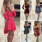 fashion Summer Women long Sleeve Casual Cocktail Party Evening Short Mini Dress