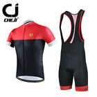 CHEJI Retro Reflective Cycling Jersey and (Bib) Shorts Men Cycling Kit Black-Red
