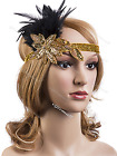 Vintage 1930s 1920s Gatsby Headpiece Charleston Flapper Party Feather Headband