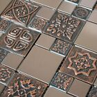 Copper Color Stainless Steel Metal Mosaic Tile For Kitchen Backsplash Wall Decor