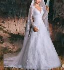 UK White/ivory Lace Long Sleeve A Line V Neck Bridal Wedding Dresses Size 6-22