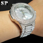 MEN'S HIP HOP WHITE GOLD PT LUXURY WATCH & FULL ICED BRACELET COMBO GIFT SET