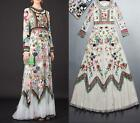Fairy Womens Embroidered Flowers Long Sleeve Vogue Lace Tulle Full Long Dress