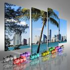 Miami Downtown Skyline In Daytime Offset Canvas Print Large Picture Wall Art