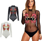 FLORAL EMBROIDERED POLO NECK BODYSUIT MESH INSERT LEOTARD PARTY TOP WOMENS