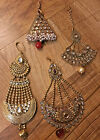Indian Pakistani Ethnic Bollywood Kundan Crystal Gold Plated Hair Piece Jhumar