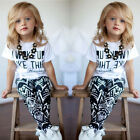 Girls 2 piece i woke up like this leggings top fashion outfit set party.casual