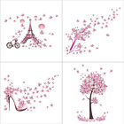 Creative Wall Sticker Pink Butterfly Tree Tower Carved Decals Bedroom Home Decor