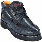 Los Altos Genuine BLACK Stingray With Ostrich Casual Shoes Lace Up D