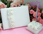 Ivory / White Wedding Guest Book and Pen Set | Rose Flowers Boxed | NEW
