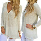 Women's Sexy V Neck Long Sleeve Hooded Casual Knit Loose T-Shirt Blouse Tops