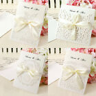 10 PCS Laser Cut Wedding Invitation Gatefold Ribbon Free P&P