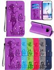 3D Gril Embossed Diamond Bling Flip PU Leather Kickstand Case Cover For Samsung