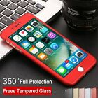 Ultra thin hard 360 cover for iphone 7 case armour Tmepered glass shockproof