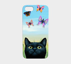 Phone Case Cell cover for Iphone Samsung black Cat 606 nature butterfly L.Dumas