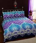 Rapport Asha Blue/Purple Ethnic Cotton Rich Duvet Set Single Double King Bedding