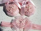 Baby Girls Reborn Pink Lace Heart Christening Shoes Heart Shoe Headband Set
