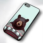 FUNNY BEAR HIPSTER RUBBER PHONE CASE COVER FITS IPHONE 4 5 6 7 (#BR)