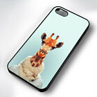 FUNNY GIRAFFE HISPTER RUBBER PHONE CASE COVER FITS IPHONE 4 5 6 7 (#BR)