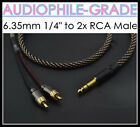 """Stereo 6.35mm 1/4"""" TRS Male to 2x RCA Connector Wire Splitter Cable Audio Line"""