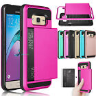 Hybrid Shockproof Rugged Card Holder Phone Case Cover For Samsung Galaxy J3 /Sky