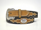 Belt Nocona Coffee Tan Embossed Western Star Concho Country and Western