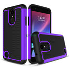 Hybrid Armor Phone Case +Glass Screen Protecter for LG Phoenix 3/Fortune/Rebel 2