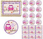 Owl Blossom Edible Cake Topper Image First Birthday Baby Shower Owl Cake NEW