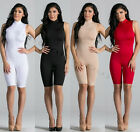 Kim K Inspired Turtle Neck Catsuit Bodysuit Capri Rompers Sleeveless Knee length