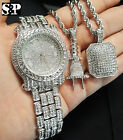 Men Luxury Hip Hop Iced Out Watch & Power Plug & Iced Square Necklace Combo Set