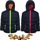 KIDS CHILDREN BOYS GIRLS PADDED QUILTED HOODED CASUAL JACKET COAT POCKETS SIZE