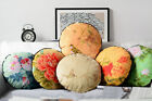 Retro Chinese Birds Flowers Oriental Velvet Round Pillow Case Car Cushion Cover