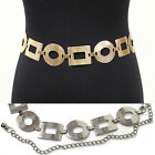 New Women Bling Fashion Circle Wide Chain Full Metal Hip Waist Belt Silver Gold